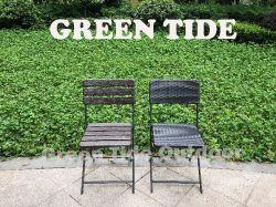 Meubles de jardin en plein air en PEHD en plastique moulé par soufflage Table et Chaise bistro Set 3PCS en bois de conception en rotin