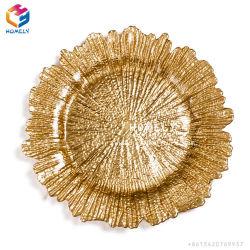 Großverkauf 13 Zoll-preiswerte freie wulstige Glasaufladeeinheits-Platten für Hochzeits-Ereignis mit Goldfelge