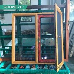 Roomeye madera con revestimiento de aluminio inclinar y girar la ventana con rejilla de acero inoxidable