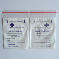 Cierre de cremallera de plástico LDPE pequeños sobres de dispensación de medicamentos
