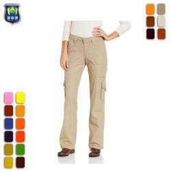 Womens lavés Khaki Green Cargo Pantalon de travail