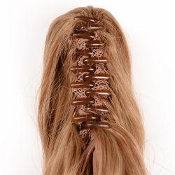 Venda por grosso de 100 Sintético Kanekalon Pedaço de cabelo rabo-de-resistentes ao calor, Peça de fecho de cabelo cabelos franja golpes, Mens Pedaço de cabelo
