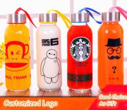 Индивидуальный логотип спорта стеклянную бутылку дешевые подарок портативный стеклянную бутылку рекламных выжмите сок из расширительного бачка