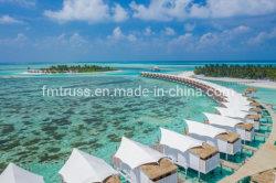 Estructura de membrana de tracción Glamping Acampar al aire libre para Maldivas Mar Playa Anti-Rust y acero anticorrosivo Resort Hotel Project