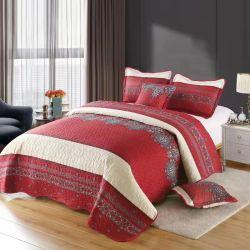 Impressos coloridos duráveis temporadas completas cama bordada Coverlet Definido