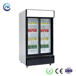 가벼운 닫집 (LG-1000BFS)를 가진 두 배 유리 미닫이 문 수직 강직한 전시 냉각기 청량 음료 음료 상업적인 냉장고