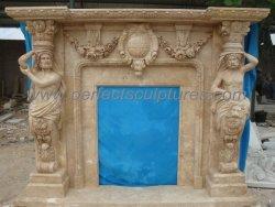 Antigua chimenea de piedra caliza Travertin Anciano Surround con cifras (QY-LS242)