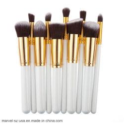 10pcs Fundación polvo mezcla Eyeshadow Herramienta cosmética Set Pinceles maquillaje