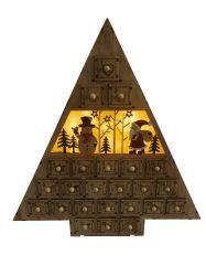 Corte a Laser de LED do Pai Natal e boneco de casa de madeira com 24 Decoração gavetas