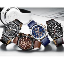 Minifokus-imprägniern späteste kundenspezifische Firmenzeichen-Männer Quarz-Armbanduhr mit ledernem Band