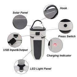 Acampamento Solar Luz Recarregamento USB 60 LED luz portátil Magneto Lâmpada Dobrável Camping Caminhadas Emergência lanterna LED Light