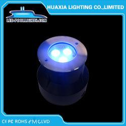 ضوء تحت الماء من نوع LED باللون الأزرق بقوة 3 واط/9 واط مع IP68 مجوف من الفولاذ المقاوم للصدأ