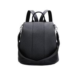 La moda de cuero de vaca negro señoras bolsos mochila
