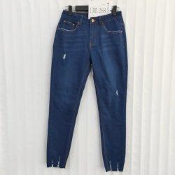 Azul escuro Skinny Fit Jeans Denim para senhoras e elegante bairro de febre aftosa efeito podre Médio