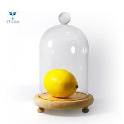 De tamaño personalizado domo hogar decoración manualidades artesanales hechos a mano manejar cúpula de cristal con Base de Madera