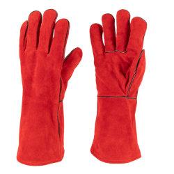 Cow Split Leather Red Welted Hitzebeständige Schweißhandschuh für die Schweißindustrie (6504. RD)