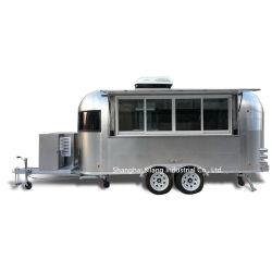Camion di lusso spazzolato del caravan del campeggiatore della caramella del caffè dei biscotti del gelato degli alimenti a rapida preparazione del rimorchio dell'acciaio inossidabile dello specchio della corrente d'aria 201/304