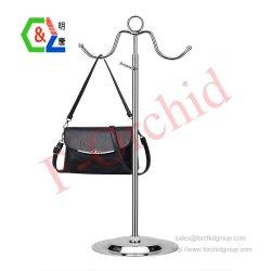 Bolso de metal Rack gancho doble bolsa de las mujeres de la pantalla Stand Soporte de acero inoxidable regulable en altura Store Fixtures