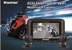 """Fabrik-verdoppeln direkte Zubehör-Motorrad-Aufnahme-Kamera 1080P hintere Ansicht-video fahrender Schreiber des Objektiv-Gedankenstrich-Nocken-DVR mit WiFi&GPS 2.7 """" LCD 155 der maximale Grad-Winkel 256g"""