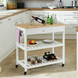 Carrello bianco superiore di base domestico della cucina di rotolamento della pittura di legno solido 3-Tier con il cassetto di memoria