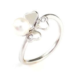 Anello fortunato della perla del trifoglio dell'argento sterlina dei monili 925 di modo