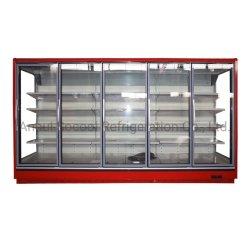먼 유리제 Multideck 이동식 선반 & LED 빛을%s 가진 문에 의하여 냉장되는 내각