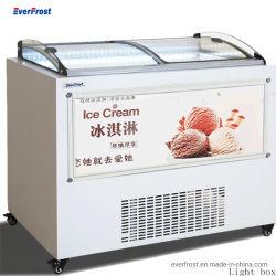 Nuevo tipo de exhibiciones comerciales congelador frigorífico expositor de helados