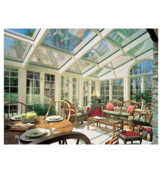 Casa de vidro de alumínio de alta qualidade Sunroom Custo tecto de vidro do teto do pátio de vidro de alumínio