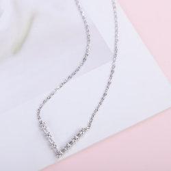925 순은 v 모양 다이아몬드 보석 목걸이