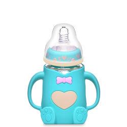 Glasbaby-Milch-führende Flaschen mit Silikon-Griff-Schnitt-Deckel für Babys