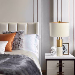 Lujo Post-Modern mostrador de mármol blanco de la luz de lámpara de mesa con tela una sombra de Salón, Dormitorio