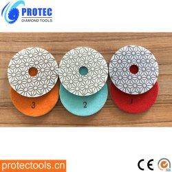 100 mm Wet&Dry-harsband Diamond Polishing Pads in 3 stappen voor Graniet/marmer/beton/ingenieur Stone/Kwarts