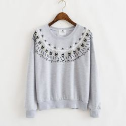 Женских свитер рубашку с длинными втулку и печать