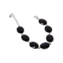 Braccialetto personalizzato della lega dei monili di modo con la pietra nera dell'agata