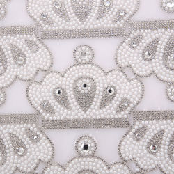 Commerce de gros cristaux de la Couronne Rhinestone Hot-Fix Mesh