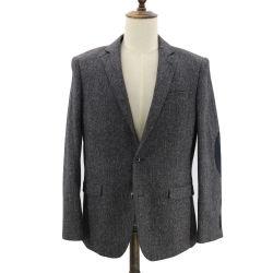 Gris de los hombres Slim Fit con textura de la firma Espina de Pez de Tweed efecto Slub Blazer