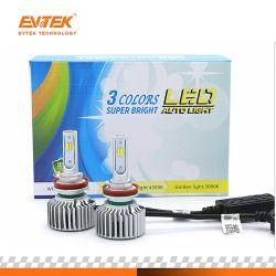 Projecteur à LED T5 H11 H7 H4 H1 H3 9005 9006 voiture Kit lampe LED Projecteur 3000K 4300K 6000K trois couleurs