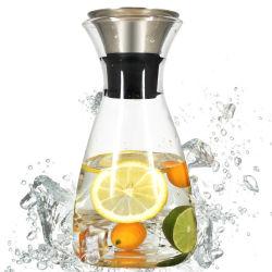 Большие Боросиликатного воды чайник для холодной воды стеклянный кувшин с крышкой потока из нержавеющей стали