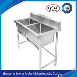 Hotel Ausrüstung Kommerzielle Küche Edelstahl Schneidebrette Arbeit Vorbereitung Tisch mit Waschbecken