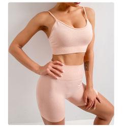 Calzamaglia correnti di yoga delle donne del vestito di forma fisica di esercitazione del vestito di ginnastica del panno di yoga vita senza giunte della camicia dell'alta