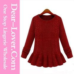 La moda suéter de punto de manga larga roja