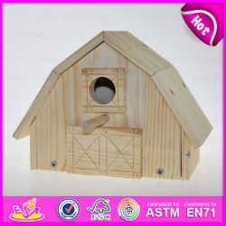 2015 SpitzenNew Natural Colour Wooden Bird House, Popular Wooden Bird House, Cheap Outdoor Hanging Wooden Birds House für Kit W06f012