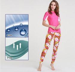 方法女性のLycraの短い袖のSwimwear&Divingのスーツ(CL-723)