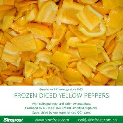 Plus bas prix,congelés poivron jaune dés, congelés Les poivrons jaunes Cubes, dés de Poivrons jaunes IQF, congelés Poivron jaune dés,IQF Les poivrons jaunes en cubes