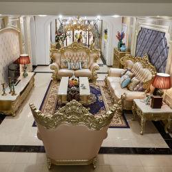 거실 가구 세트 나무 조각된 클래식 로얄 가죽 소파 선택 사항 테이블 시트 및 가구 색상