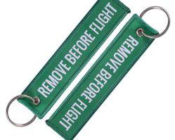 Logo textiles tissus pour vêtements de chaîne de clé avec anneau en métal
