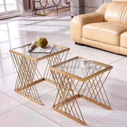 Justierbarer doppelte Schicht-GlasspitzenEdelstahl-Tee-Seiten-Tisch