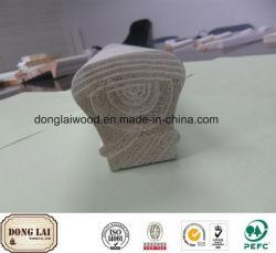 Usine de matériaux de construction d'approvisionnement en bois massif de la main courante de l'escalier d'apprêt blanc