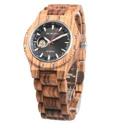Tendance mode Horloge montres en bois naturel Classique Zebra