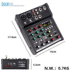 4CH мини USB звуковой микшер с поддержкой Bluetooth и звуковой карты
